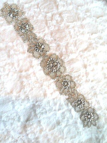 XR292 Crystal Rhinestone Applique Silver Beaded w/ Pearls Bridal Sash Patch Motif 16.5