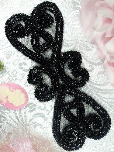 XR103 Black Double Heart  Beaded Applique 5\