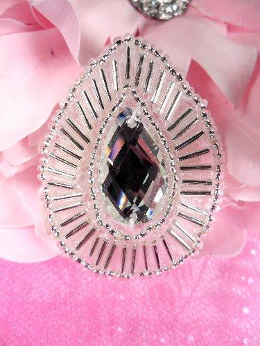 XR111 Teardrop Treasure Silver Crystal Clear Beaded Rhinestone Applique 1.75\