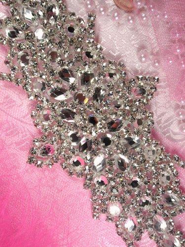 XR114 Vanessa Bridal Motif Silver Crystal Clear Rhinestone Applique  7\