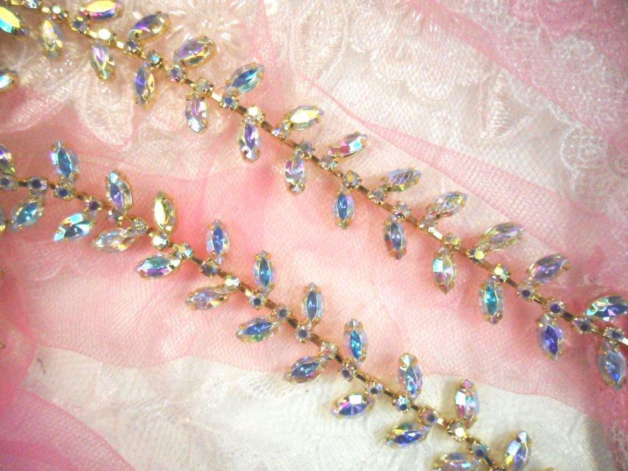 (REMNANT 16) Gold Setting Crystal AB Aurora Borealis Rhinestone Leaf Vine Trim (RMXR115)