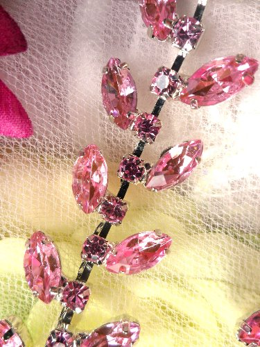 XR115 Pink Crystal Rhinestone Leaf Vine Trim