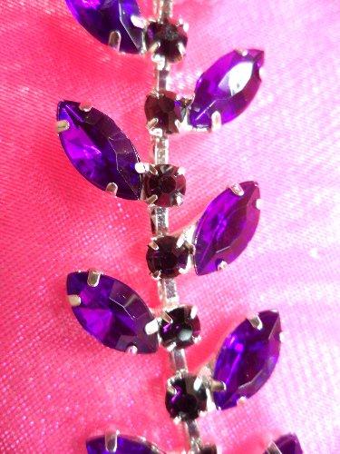XR115 Purple Rhinestone Leaf Vine Trim Beth
