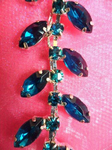 RMXR115-35 REMNANT  Turquoise Rhinestone Leaf Vine Trim Bryanna