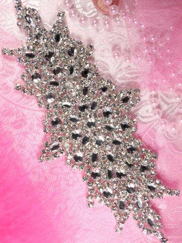 XR116 Abagail Bridal Motif Silver Crystal Clear Rhinestone Applique  7\