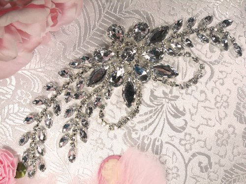 XR119  Silver Crystal Clear Rhinestone Applique Embellishment 7.5\