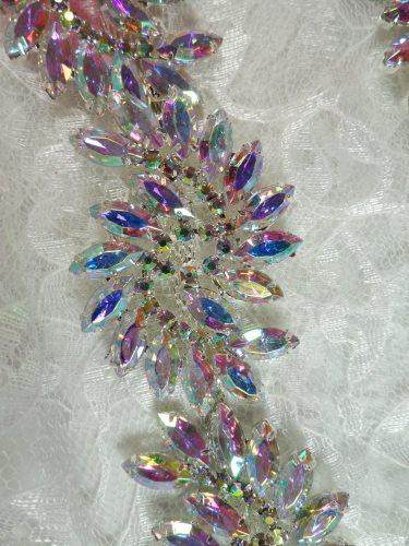 XR120 Aurora Borealis Marquise Swirl Crystal AB Rhinestone Embellishing Trim