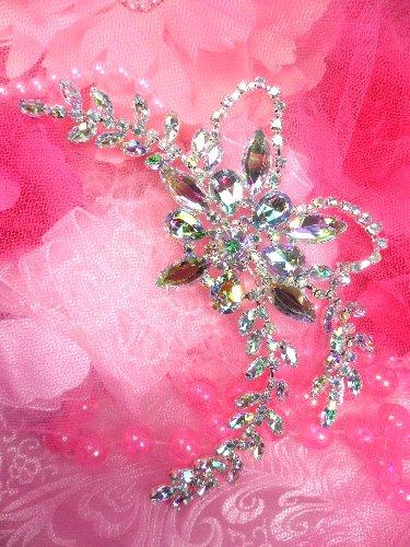 XR127 Aurora Borealis Floral Leaf vine Rhinestone Applique Embellishment 7.5\