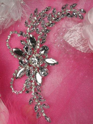 XR127 Silver Crystal Clear Rhinestone Applique Embellishment 7.5\