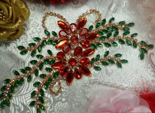 XR128 Red Green Pink Rhinestone Applique Embellishment 9\ with Gold Backing
