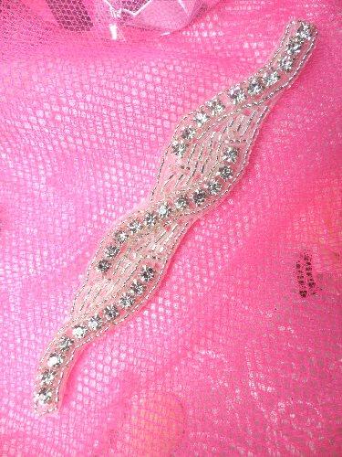 XR129 Silver Beaded Crystal Rhinestone Applique 4.75\