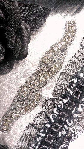 XR129 Black Backing Silver Beaded Crystal Rhinestone Applique 4.75\
