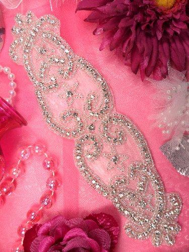 XR142  Bridal Sash Silver Beaded Crystal Rhinestone Applique 9\