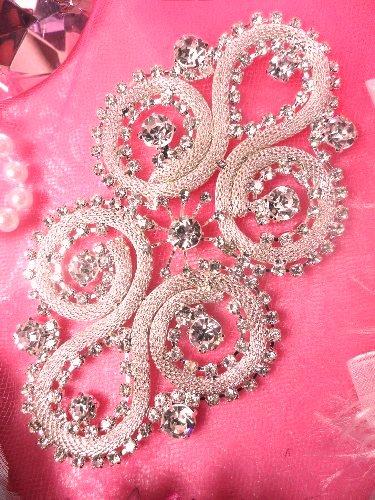 XR145 Silver Crystal Clear Rhinestone Applique Embellishment 4.75\