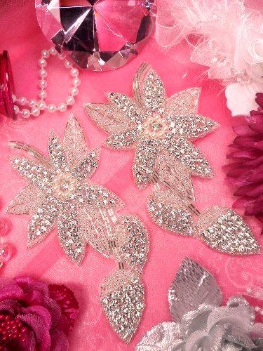 XR146  Floral Mirror Pair Silver Beaded Crystal Rhinestone Appliques W/ Pearls 6\