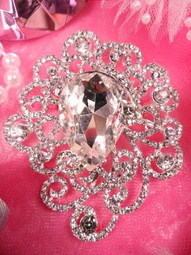 XR148 Silver Crystal Clear Rhinestone Victorian Bridal Brooch