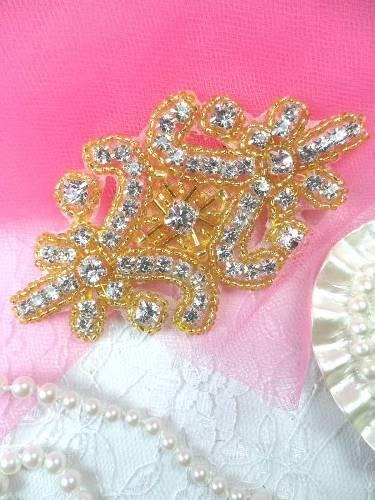 XR15 Gold Beaded Crystal Rhinestone Applique 4\