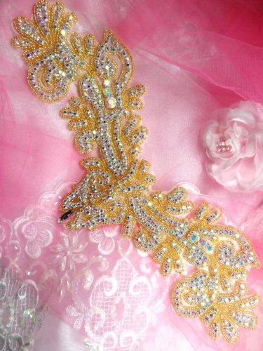 XR157 Applique Aurora Borealis Crystal AB Rhinestone Gold Beaded 13\