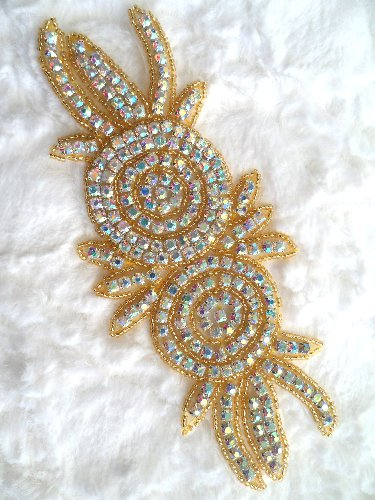 XR17 Gold Beaded Rose Double Floral Crystal AB Rhinestone Applique 7.25\