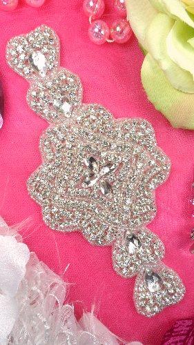XR170 Bridal Sash Crystal Rhinestone Applique Silver Beaded 7\