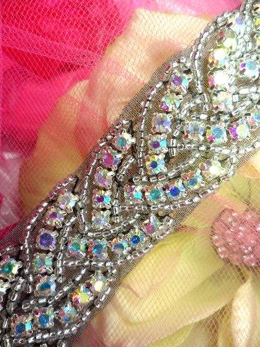 XR177 Black Backing AB (34\ Long) Trim Crystal Aurora Borealis Rhinestone Twisted Silver Beaded 1\