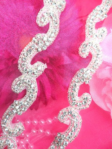 XR178 Silver Beaded Crystal Rhinestone Trim Petite Flowers 1\