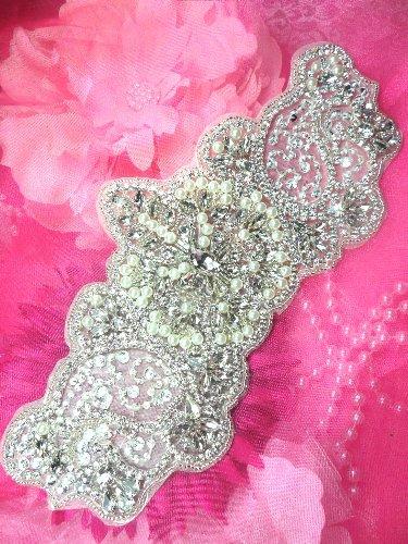 XR189 Bridal Motif Silver Crystal Clear Rhinestone Applique w/ Pearls 9\