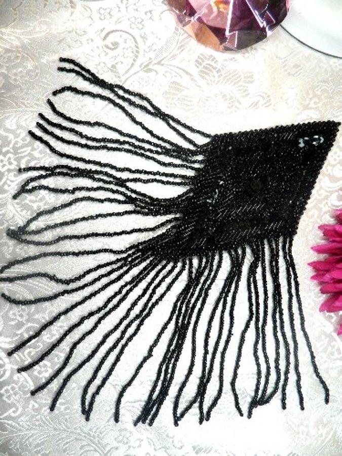 XR198 Applique Black Dangle Sequin Beaded 10