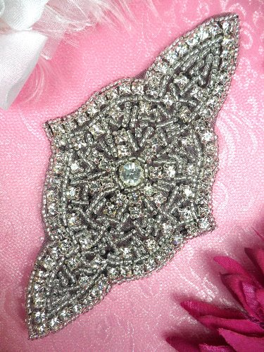 XR23 Black Backing Applique Designer Silver Beaded Crystal Rhinestone 5