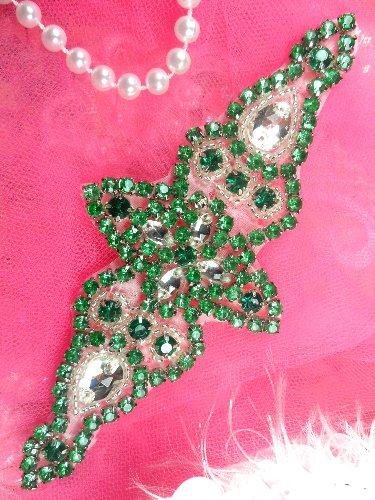 XR237 Green Crystal Rhinestone Silver Beaded  Applique 6\