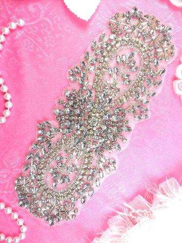 XR241 Bridal Sash DIY Crystal Rhinestone Applique Floral Designer 8\