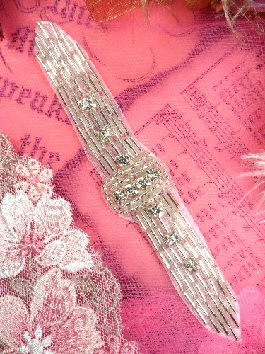 XR242 Silver Crystal Beaded Applique Sewing Patch 4.75\
