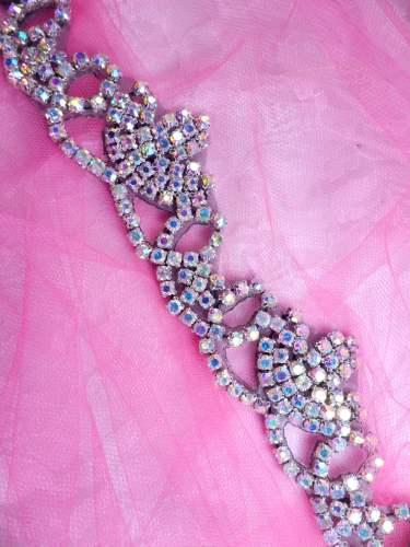 XR243 Black Backing Rhinestone Crystal Aurora Borealis Elegant Tiara Trim