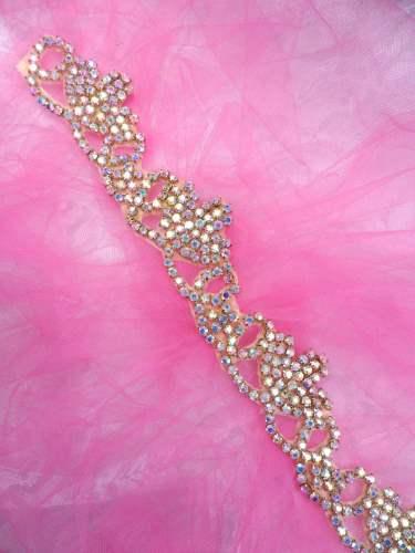 XR243 Gold Backing Rhinestone Crystal Aurora Borealis Elegant Tiara Trim 1.5\