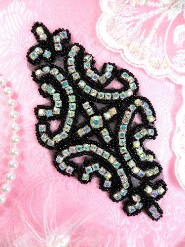 XR25 Black Crystal Aurora Borealis Rhinestone Applique Black Beaded AB 6