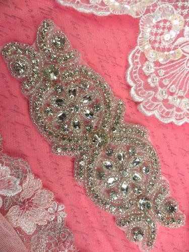XR251 Crystal Rhinestone Applique Bridal Sash Motif Silver Beaded & Glass 6.75\