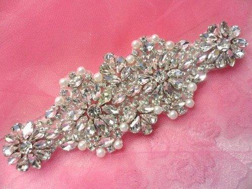 XR256 Crystal Rhinestone Applique Silver Settings w/ Pearls 6\