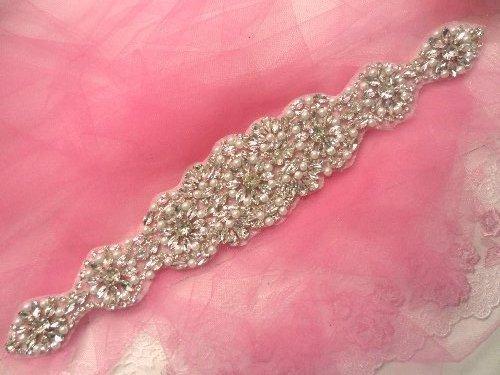 XR257 Crystal Rhinestone Applique Silver Settings w/ Pearls 13.75