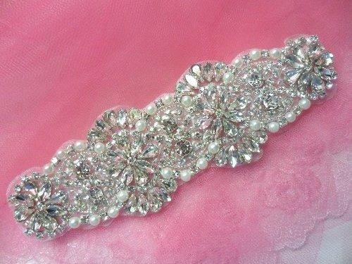 XR259 Crystal Rhinestone Applique Silver Settings w/ Pearls 6.5\