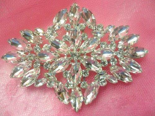 XR263 Crystal Rhinestone Applique Embellishment Silver Settings 3.5\