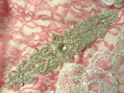 XR265 Crystal Rhinestone Applique Silver Beaded w/ Pearls 11.5