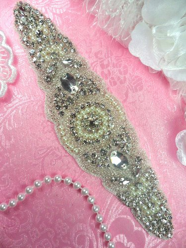 XR276 Bridal Sash Motif Silver Crystal Clear Glass Rhinestone Applique with Pearls 8\