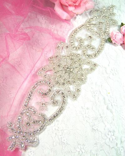 XR28  Bridal Sash Beaded Rhinestone Applique 12.75\