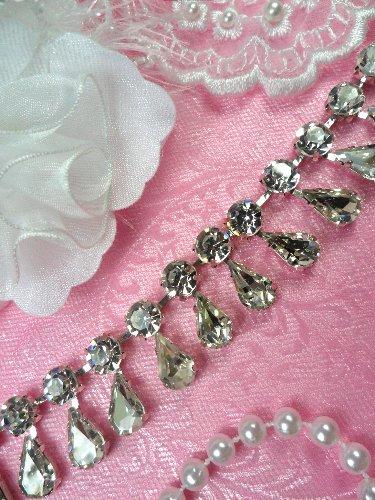 XR281 Rhinestone Trim Tear Drop Dangles Glass Crystal Embellishing Trim .75\