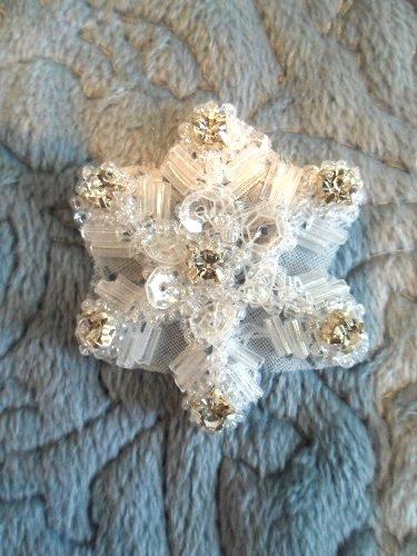 XR284 Sequin Applique Crystal Rhinestone Snowflake 1.5