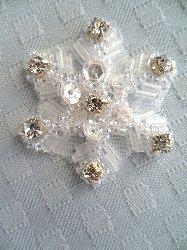 "XR284 Crystal Sequin Applique Crystal Rhinestone Snowflake 1.5"""