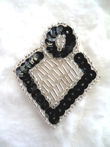 XR286 Black and Silver Diamond Sequin Beaded Applique  2.25\