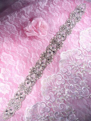 XR305 Bridal Sash Crystal Rhinestone Pearl Applique Patch Motif 18.25\