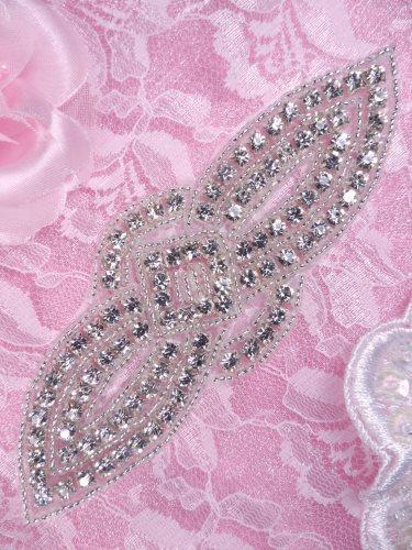 XR315 Silver Crystal Rhinestone Beaded Applique 5.25\