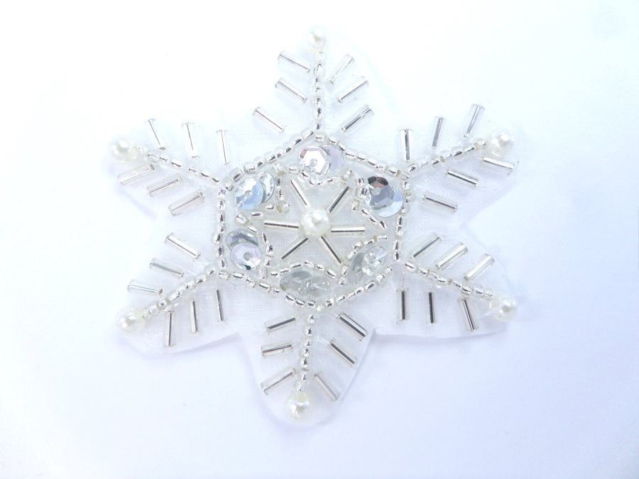 Snowflake Sequin Applique w/ Silver Sequins and Beads Pearl Tips 2 XR319